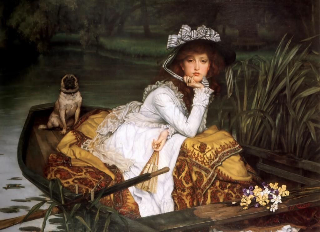 Девушка в лодке с собачкой